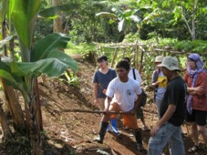 Jason Menaling, a Pulangiyen youth leader, shows UPeace students how to plant bananas