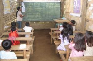 A Grade 1 class in a newly-built classroom