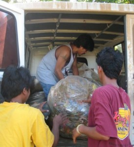 Plastic wastes and other non-biodegradable products are bagged for selling and disposal in Malaybalay.