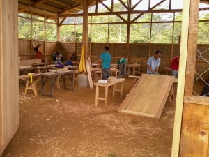 Furniture carpentry practicum in the carpentry shed the youth participants also built