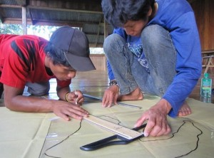 Jason and Israel, two of the young foresters in Bendum, doing resource mapping.