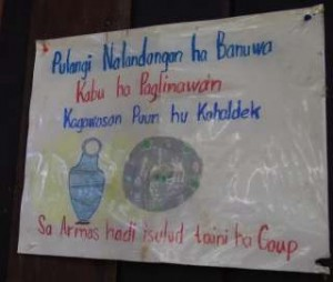 A children's poster that sketches Pulangiyen's value for peace which is symbolized by the Jar of Peace (Kabu ha Paglinawan)