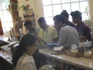 The youth foresters inquiring about the products showcased by NTFP – EP